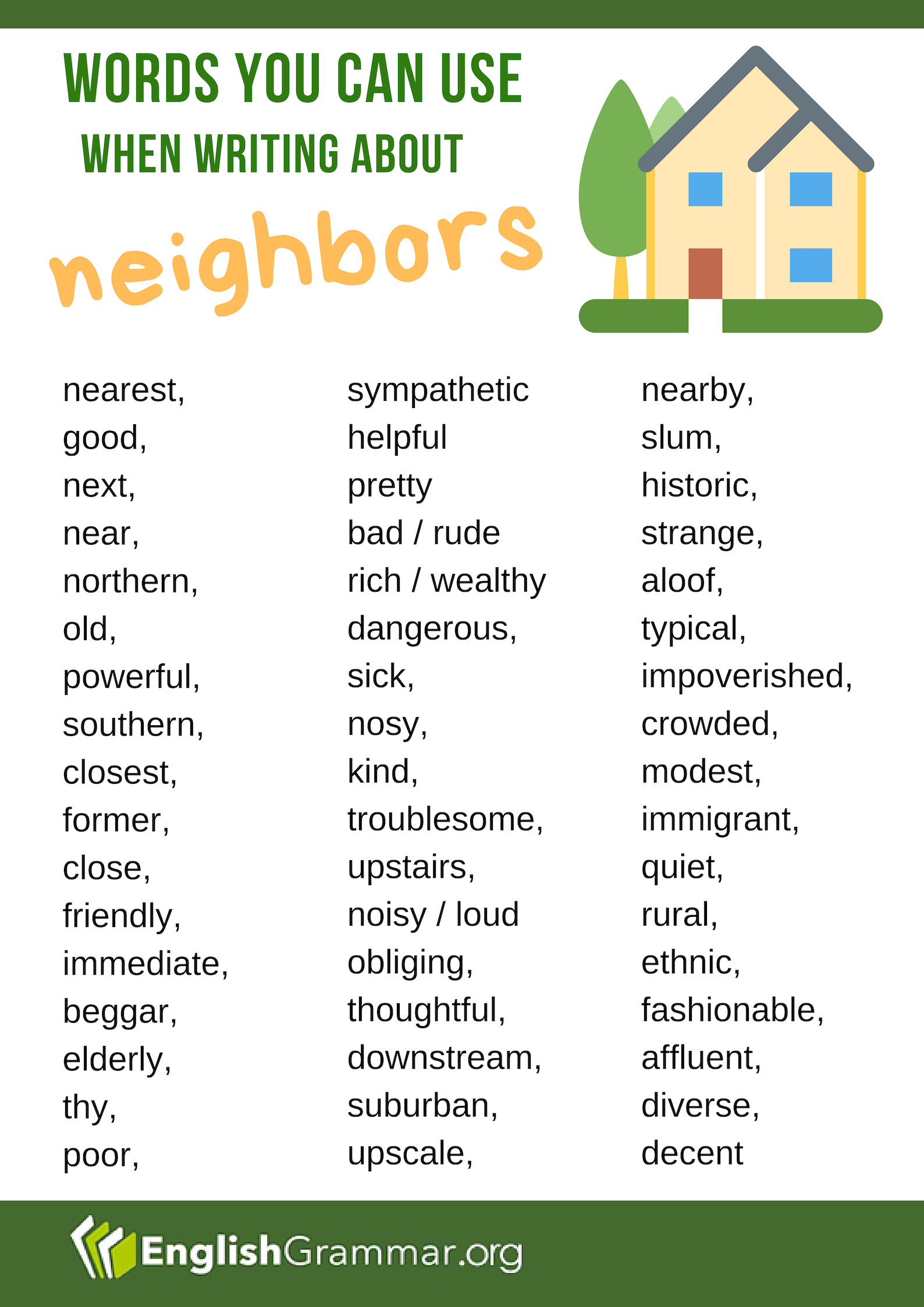 Words To Use When Writing About Neighbors Writingtips