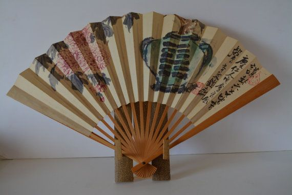 Decorative Fan With Display Stand Bamboo And Paper Vintage Amazing Japanese Fan Display Stand