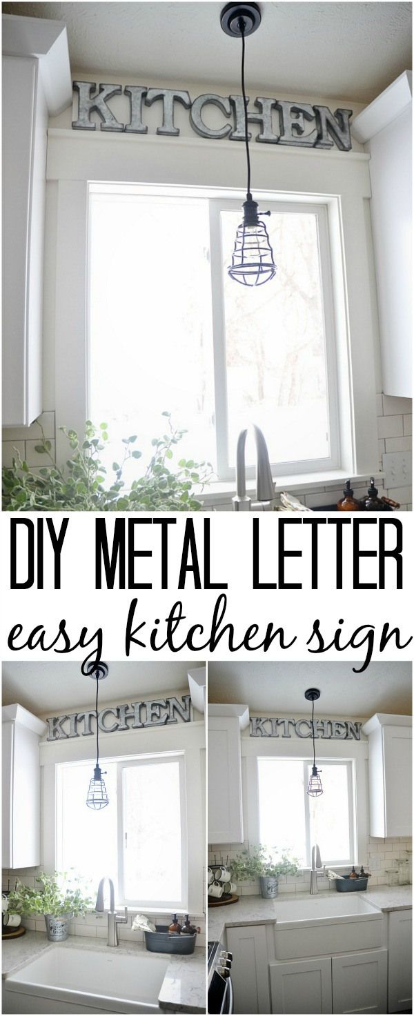 DIY Metal Letter Industrial Kitchen Sign | Industrial farmhouse ...