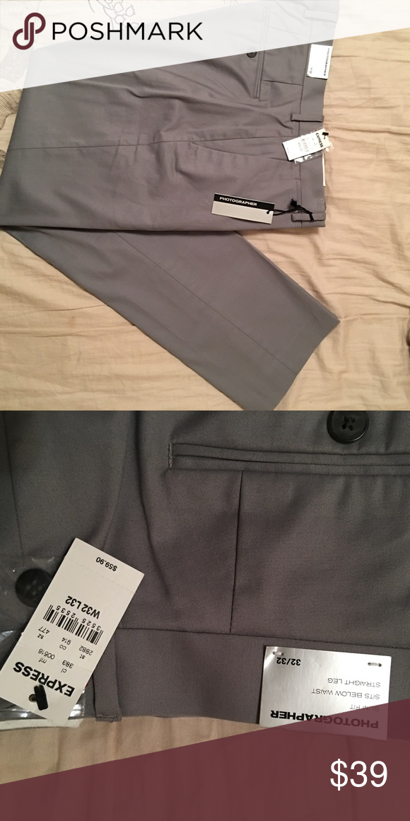 Express Photographer slacks. New with tags. Express Photographer slacks. New with tags. Purchased 3 pair (also avail in closet) for my son (but he chooses to wear sweats instead). 32x32. Express Pants Dress