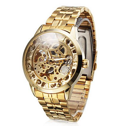 Men's Auto-Mechanical Skeleton Gold Dial Steel Band Wrist Watch $26.39