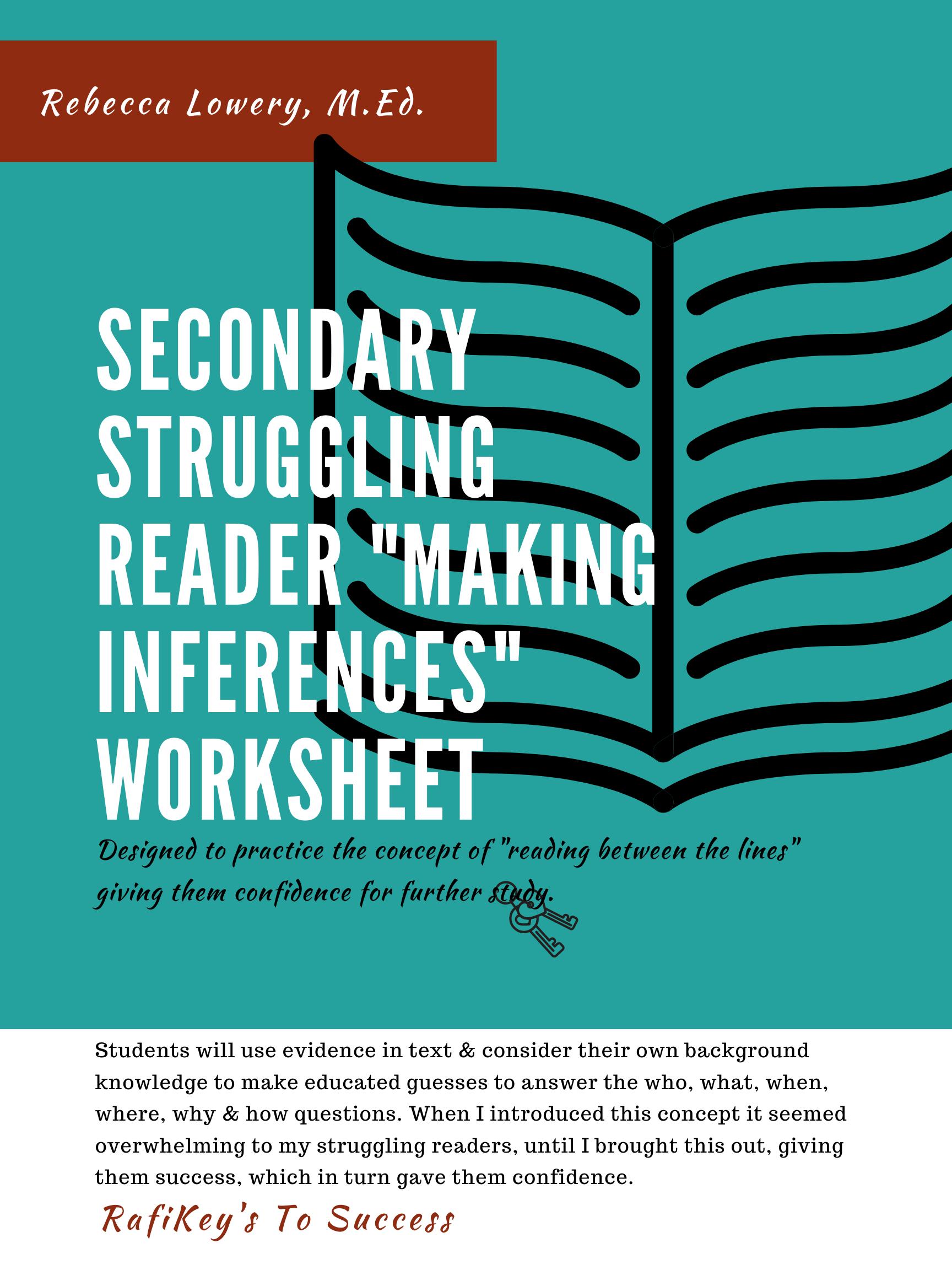 Secondary Struggling Reader Making Inferences Worksheet In