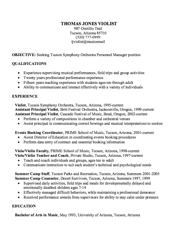 sample experience musician resume httpexampleresumecvorgsample experience