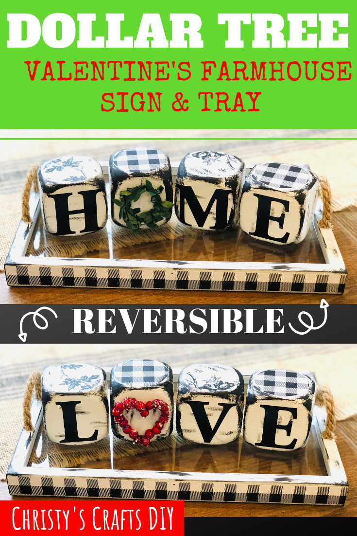 Photo of Check out this Reversible Farmhouse Valentines Sign and Tray made for less than …