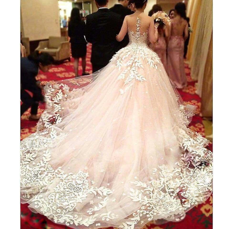 Boho Blush Pink Wedding Dresses 2017 Pretty 3d Flower Lace: Beautiful Pink Blush Wedding Gown