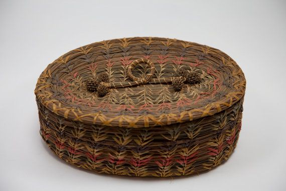 Old Native American Pine Needle Basket by viewsbykim on Etsy