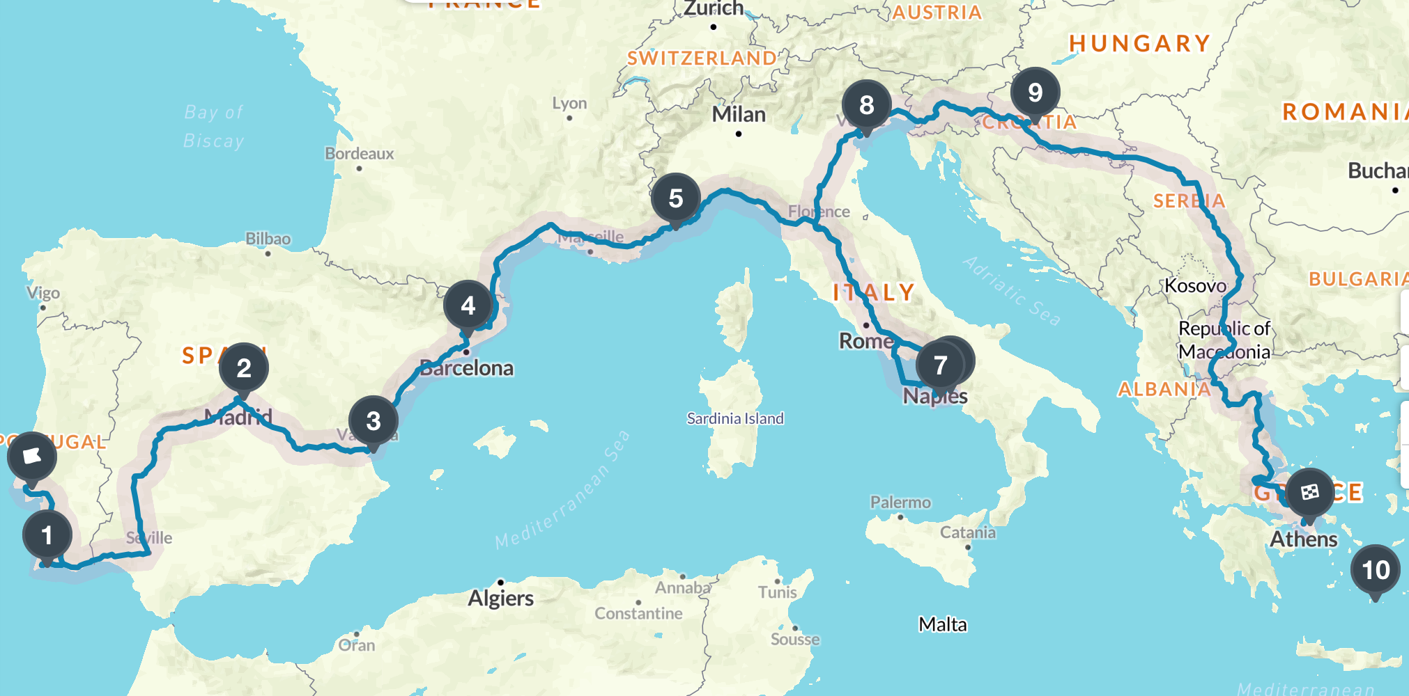 Map Of Spain Portugal And Italy.Future Trip Route Portugal Spain Monaco Italy Croatia Greece
