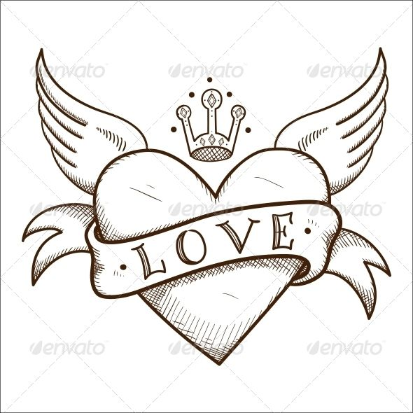 Heart With Banner And Crown Heart Drawing Heart Coloring Pages Wings Drawing