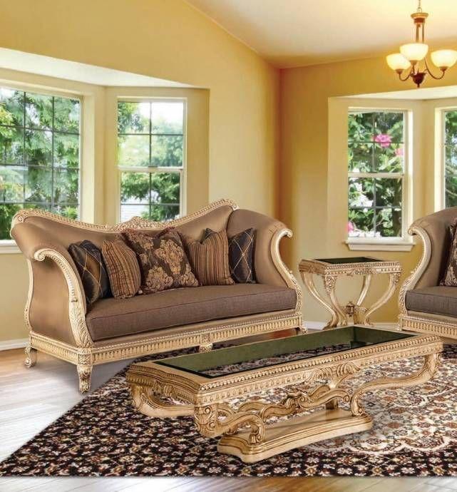 Wondrous Luxury Golden Frame Cocoa Silk Chenille Sofa Set 5Pcs Sp Creativecarmelina Interior Chair Design Creativecarmelinacom