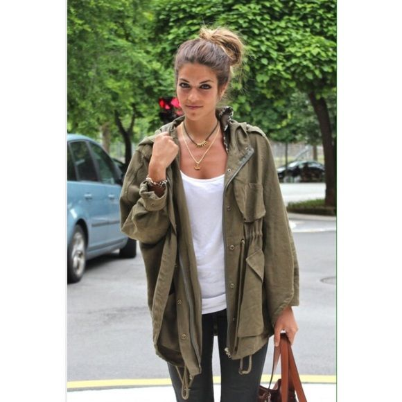 189882729 ZARA lightweight military green parka jacket Perfect for spring ...