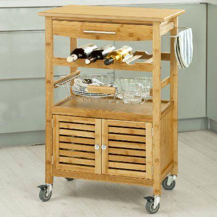 SoBuy H92cm Servierwagen aus hochwertigem Bambus,Küchenwagen - küchenwagen mit schubladen