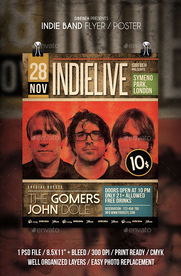 Indie Band Flyer Pinterest Indie Flyer Template And Template