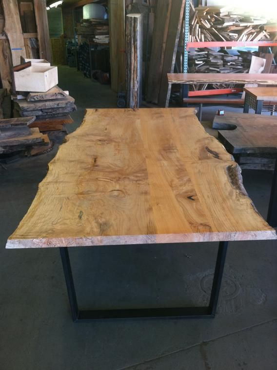 Live Edge Redwood Table For The Deck Slab Should Be Less Finished More Raw Dining Table Table Dining