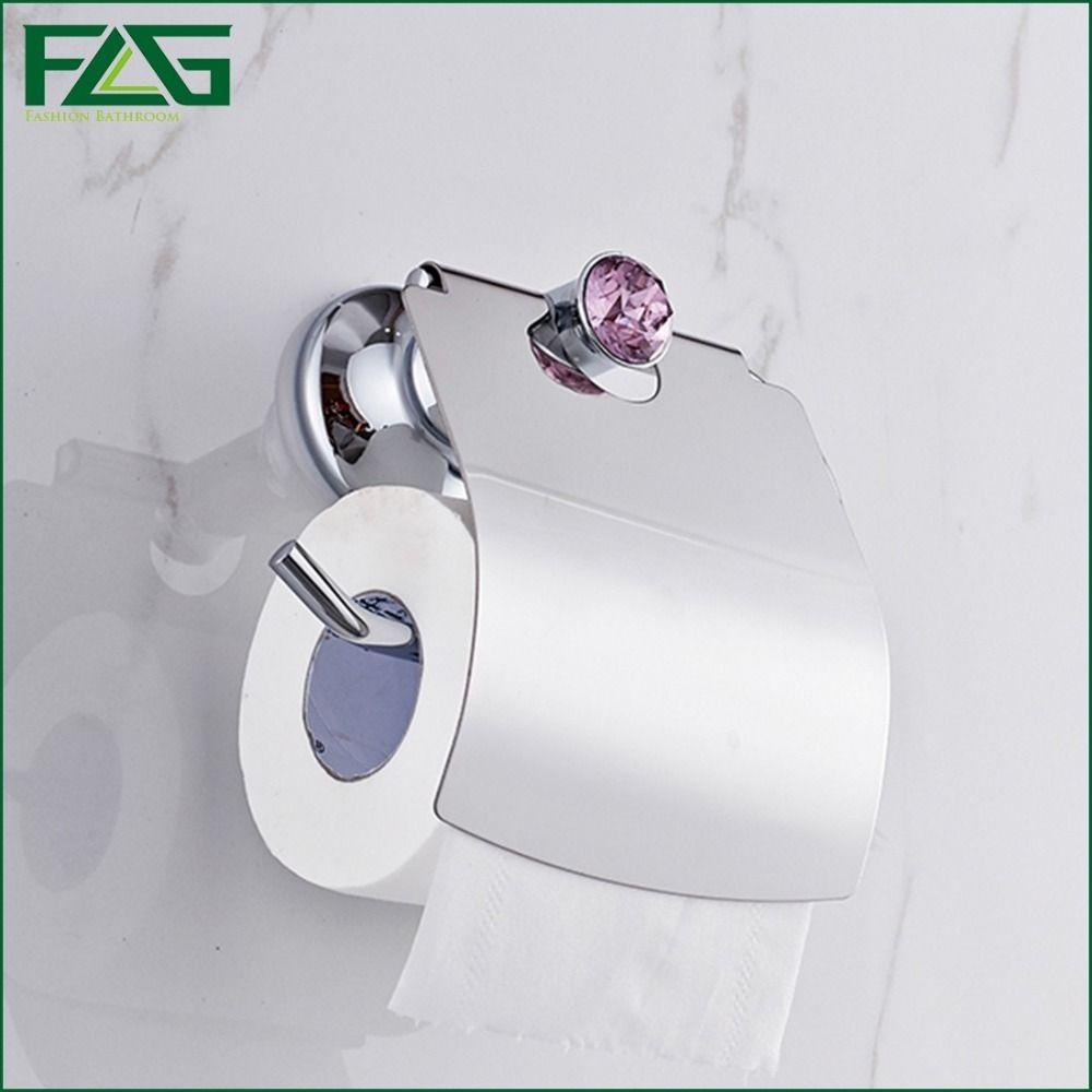 FLG Luxury Chrome Polish Purple Crystal Toilet Paper Holder WC Paper ...