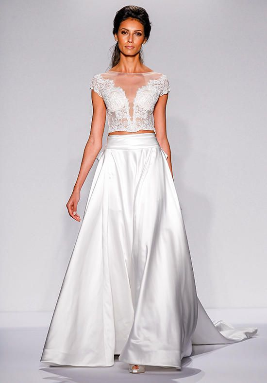 Illusion neckline tulle wedding dress with lace bodice I Pnina ...