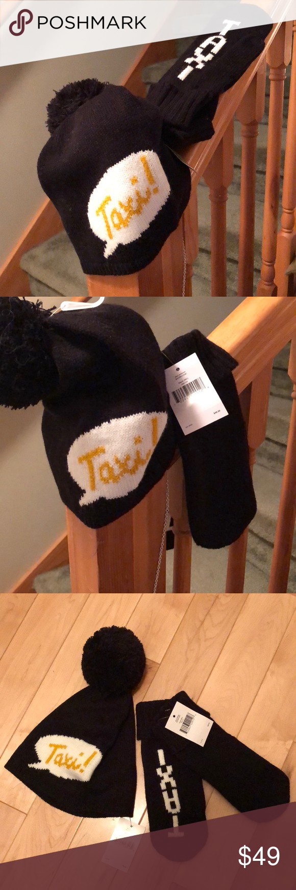 Kate Spade Taxi Knit Beanie And Mittens In 2020 Knit Beanie Kate Spade Mittens