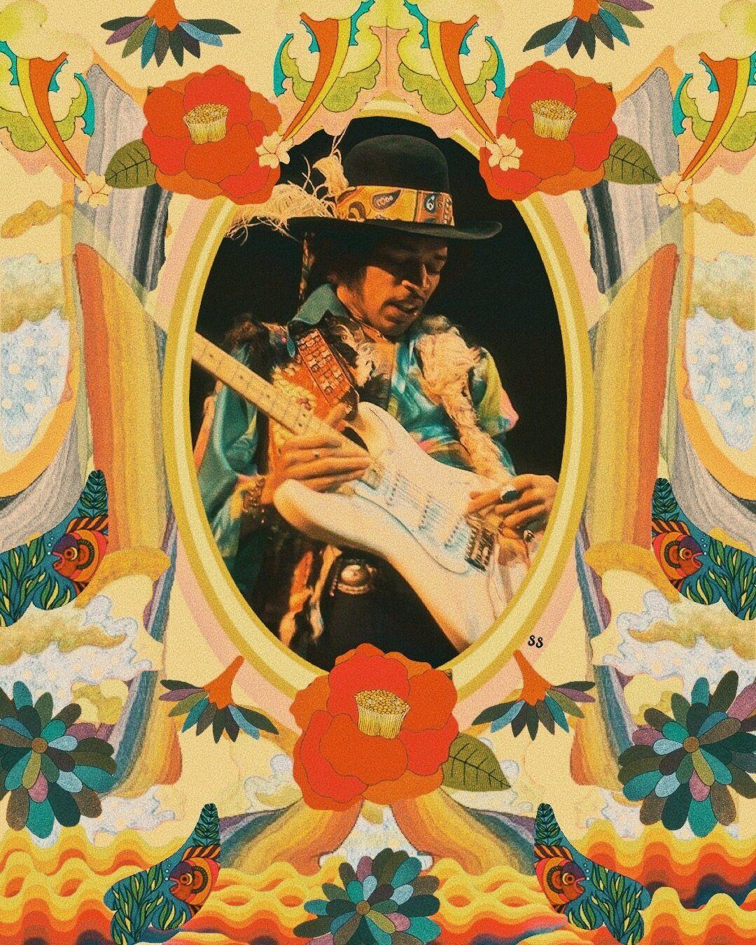 The Jimi Print Jimi Hendrix Art Hippie Art Psychedelic Art