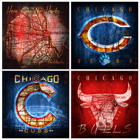 Blackhawks Bears Bulls Cubs Maps 4Pack Chicago Fan by RetroLeague
