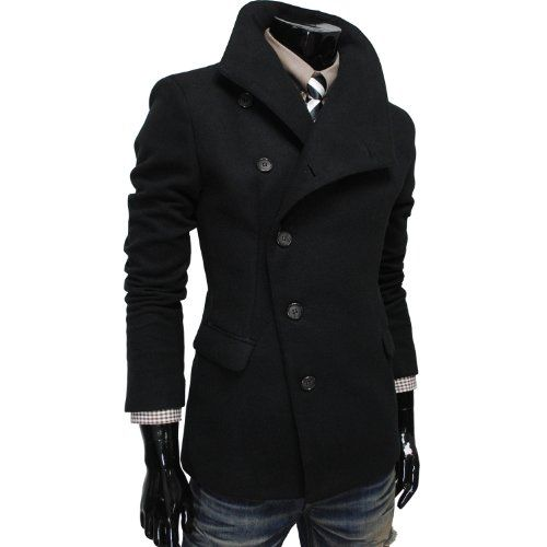 TheLees Mens Unbalance High Neck Slim PEA Coat Jacket - List price ...