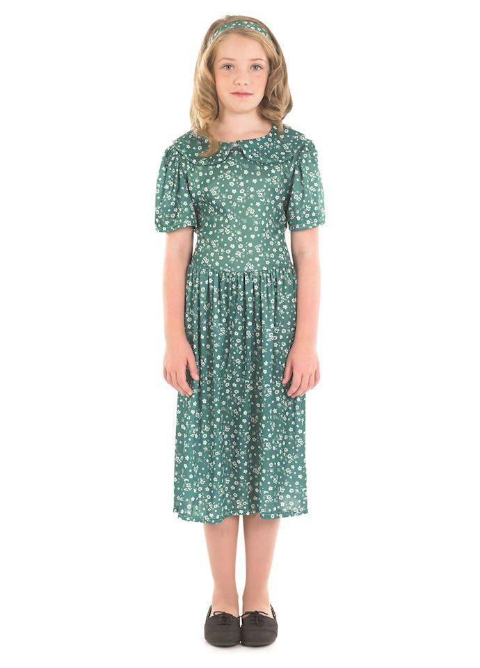 Wartime-1940/'s-EDWARDIAN POLKA DOT DRESS Girls Fancy Dress Costume ALL AGES