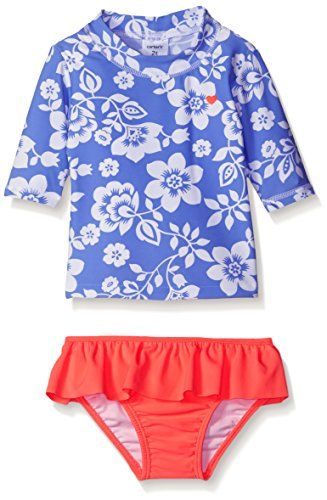 Rash Guard Set Kids Swimwear Girls Two Piece Swimsuit Floral UPF 50