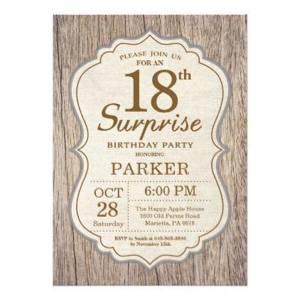 rustic surprise 18th birthday invitation wood birthday cards