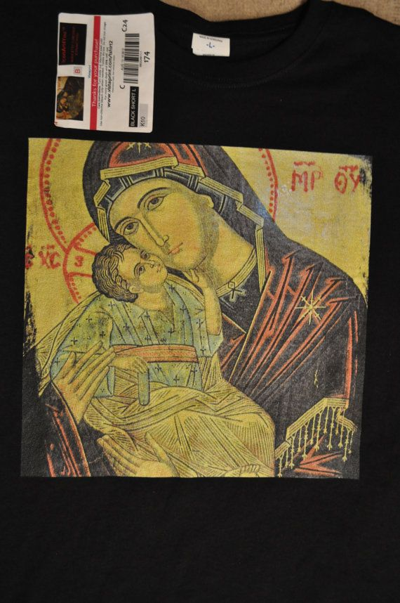 Virgin Mary and Christ  Icon TShirt Unique by Iconart4you on Etsy, $28.00