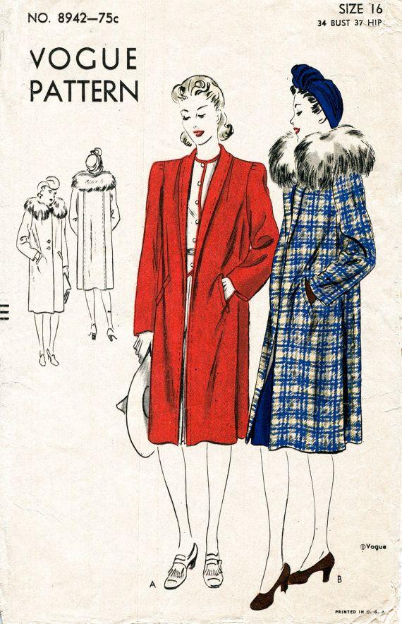 1940s 40s Vintage Sewing Pattern box coat fur collar bust 34 b34 ...
