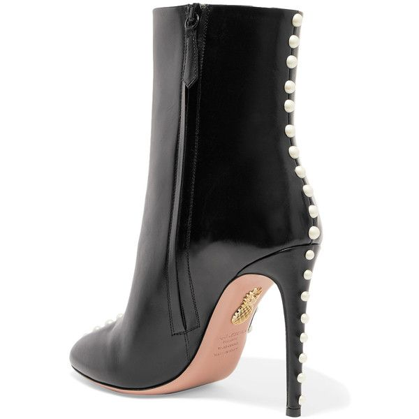 6bbb019e5ee1d3 Black Pumps Heels · Aquazzura Follie Pearls leather ankle boots ( 1