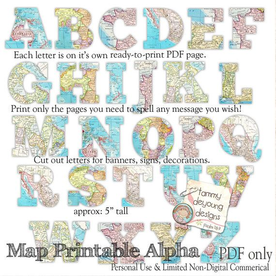 Photo of Map Banner Garland Printable, World Map Alphabet, Letters for travel decor, custom party bunting, graduation banner, weddings, map theme
