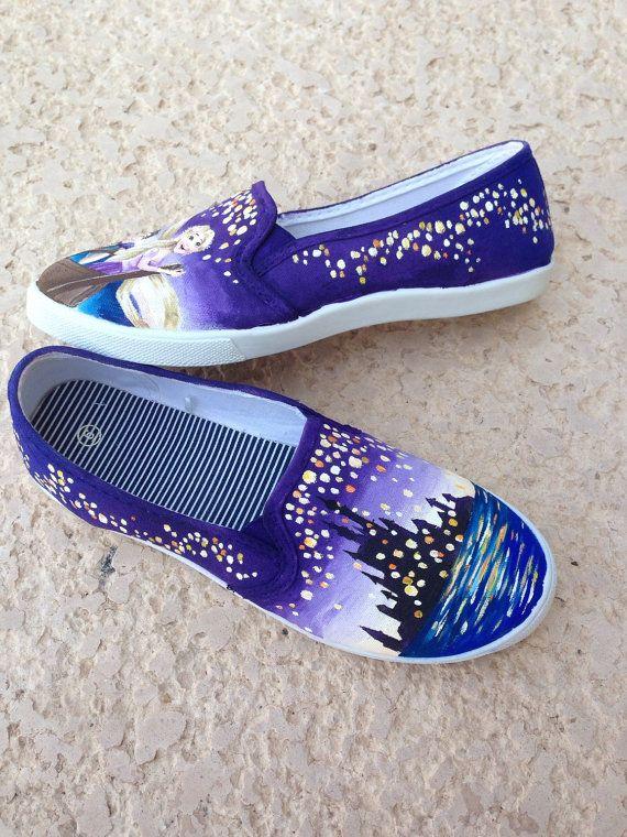 6a35bb5d378d2 Disney Tangled Rapunzel Lantern Painted Shoes   PAINTED SHOES ...