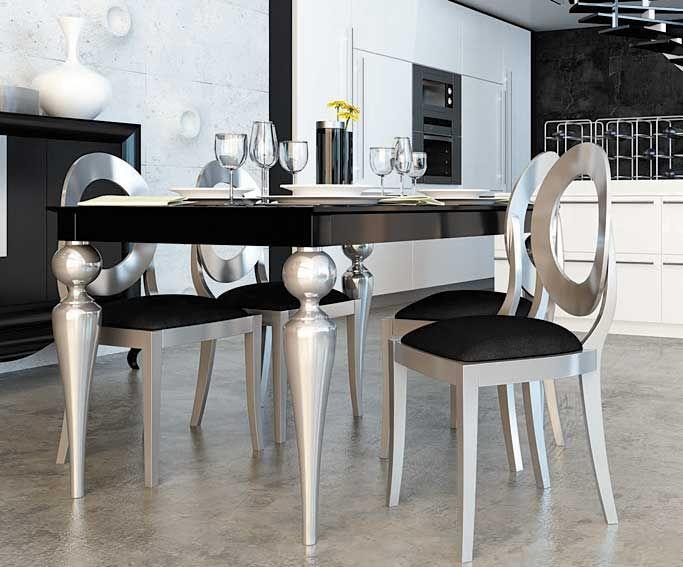 Comedor moderno elizabeth material dm densidad media mesa - Patas torneadas de madera ...
