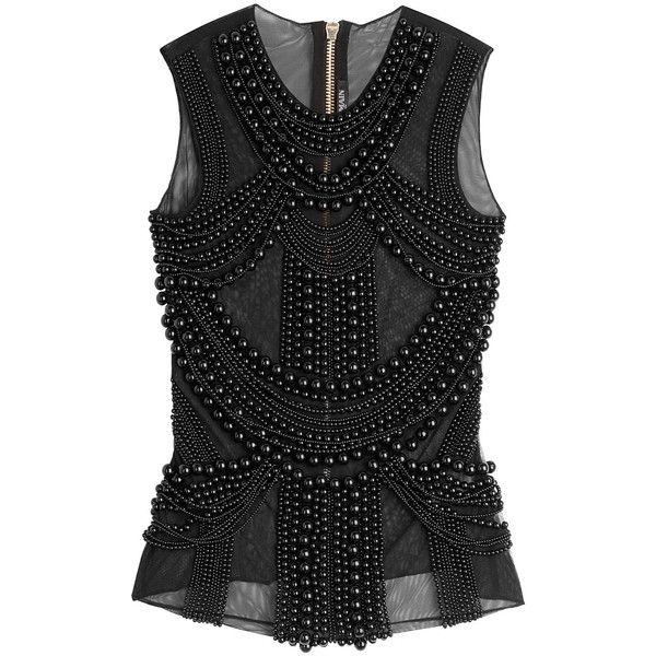 Balmain Embellished Sleeveless Top (3030 PAB) ❤ liked on Polyvore featuring  tops, balmain