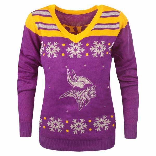 Womens Minnesota Vikings Purple Light Up V Neck Sweater Minnesota