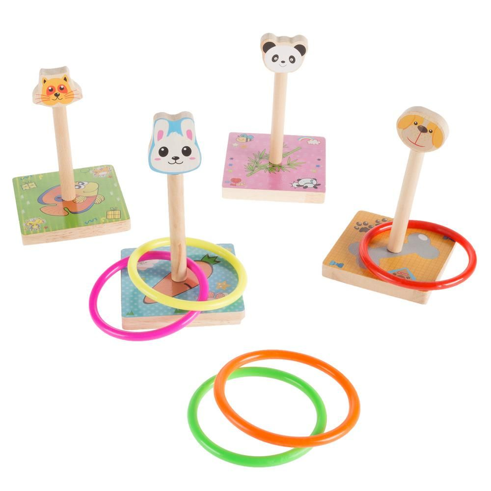 Hey Play Zoo Animal Ring Toss Game Set in Products