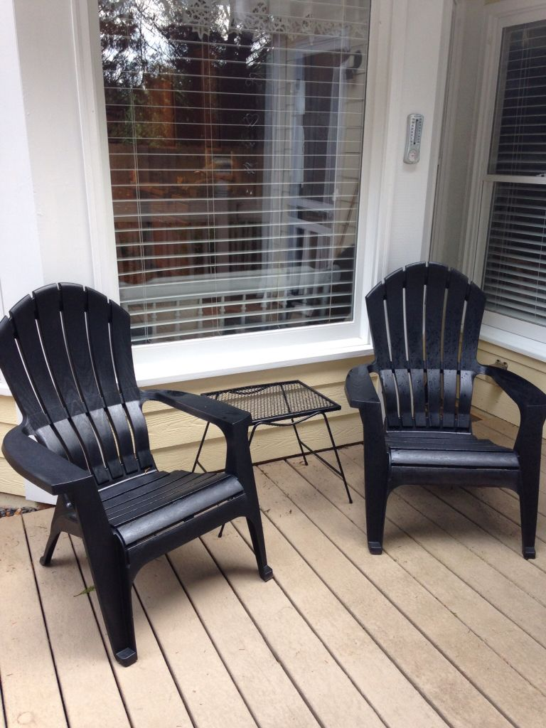 Genial I Painted These Resin Adirondack Chairs With Black Spray Paint They Used To  Be Brown,turned Out Super Nice.