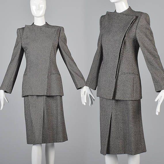 Giorgo Armani Avant Garde Separates Wool Skirt Suit Armani Suit Designer Fashion Designer Style Designer Womens Fashion Vintage Vintage Outfits Tunic Styles
