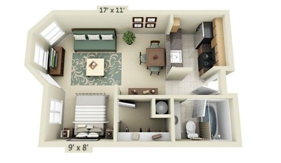 Planos de apartamentos peque os en 3d for the home for Apartamentos pequenos planos