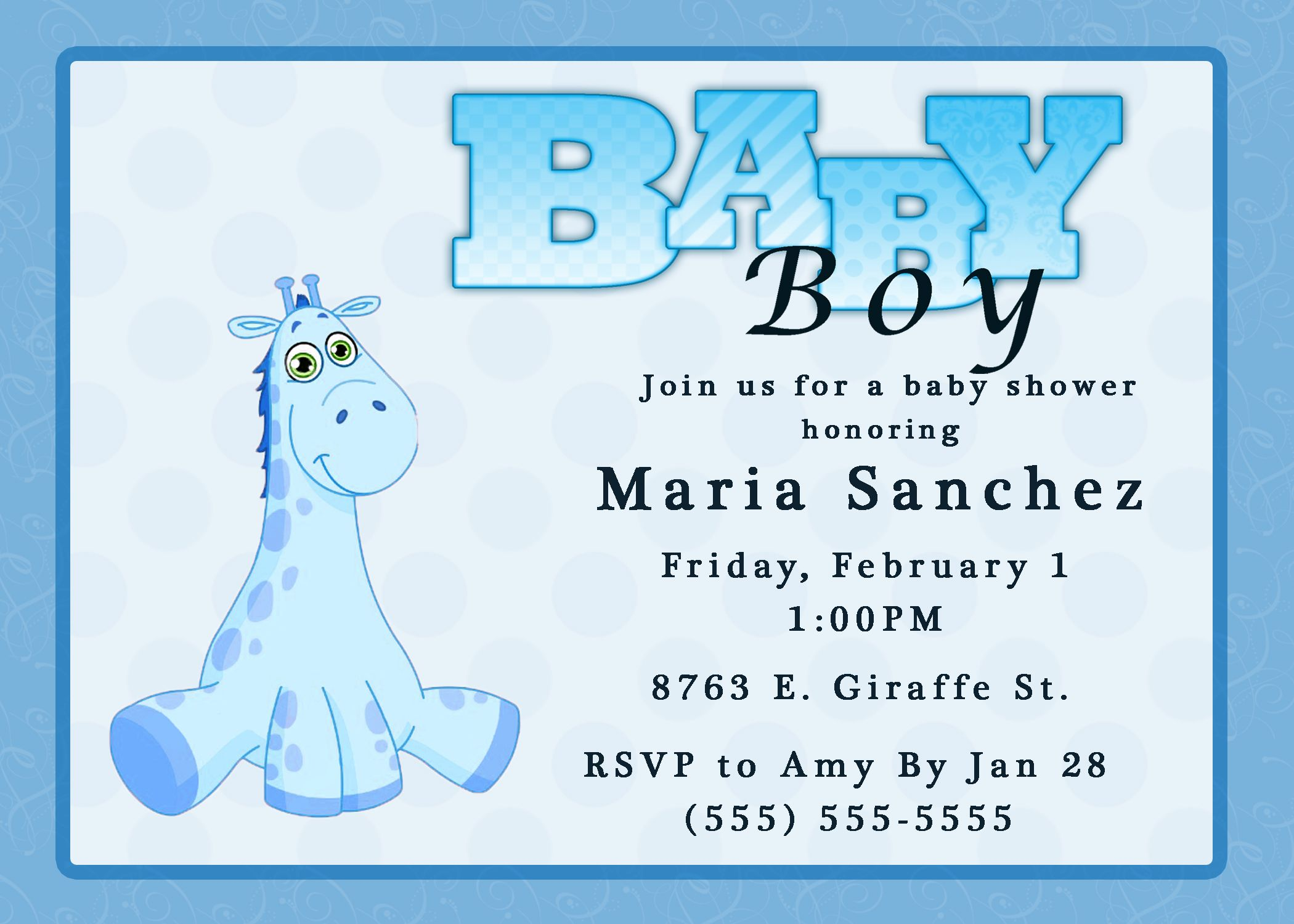 Giraffe Boy Baby Shower Invitation Kustom Kreations | CourtneyHouse ...