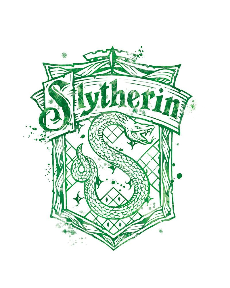 Slytherin Crest Harry Potter Hogwarts Harry Potter Print Watercolor Painting Slytherin Crest Poster Harry Potter Printable DigitaL Download