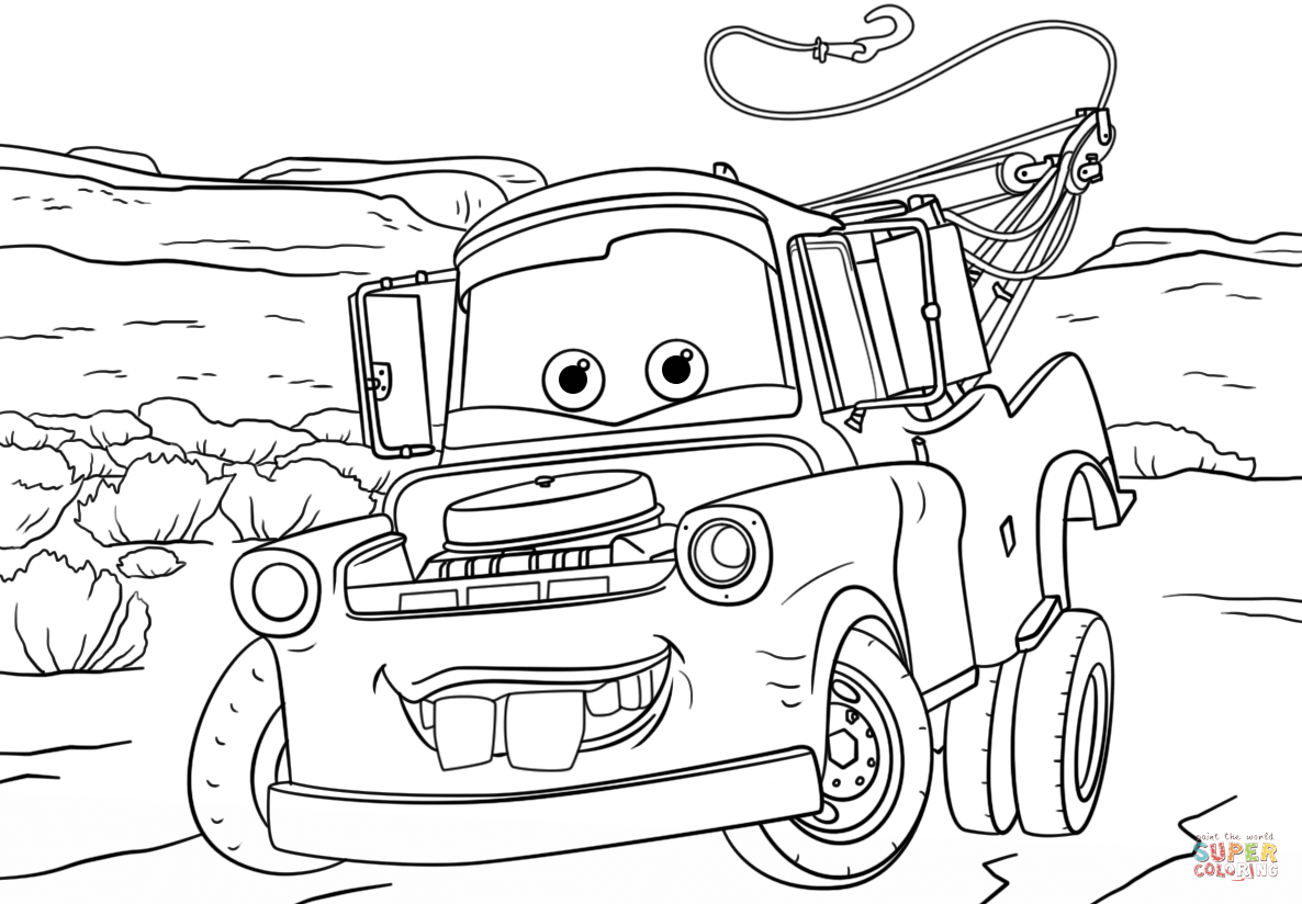 Tow Mater From Cars 3 Super Coloring Disney Coloring Pages Cars Coloring Pages Coloring Pages Inspirational
