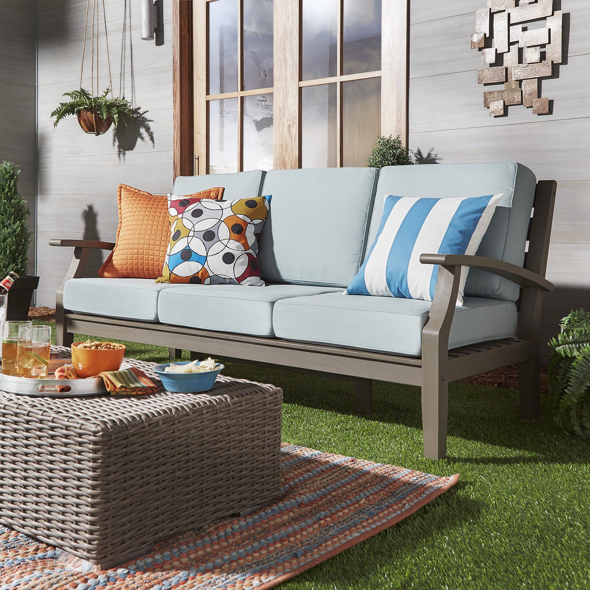 Yasawa Grey Modern Outdoor Cushioned Wood Sofa Inspire Q Oasis Blue
