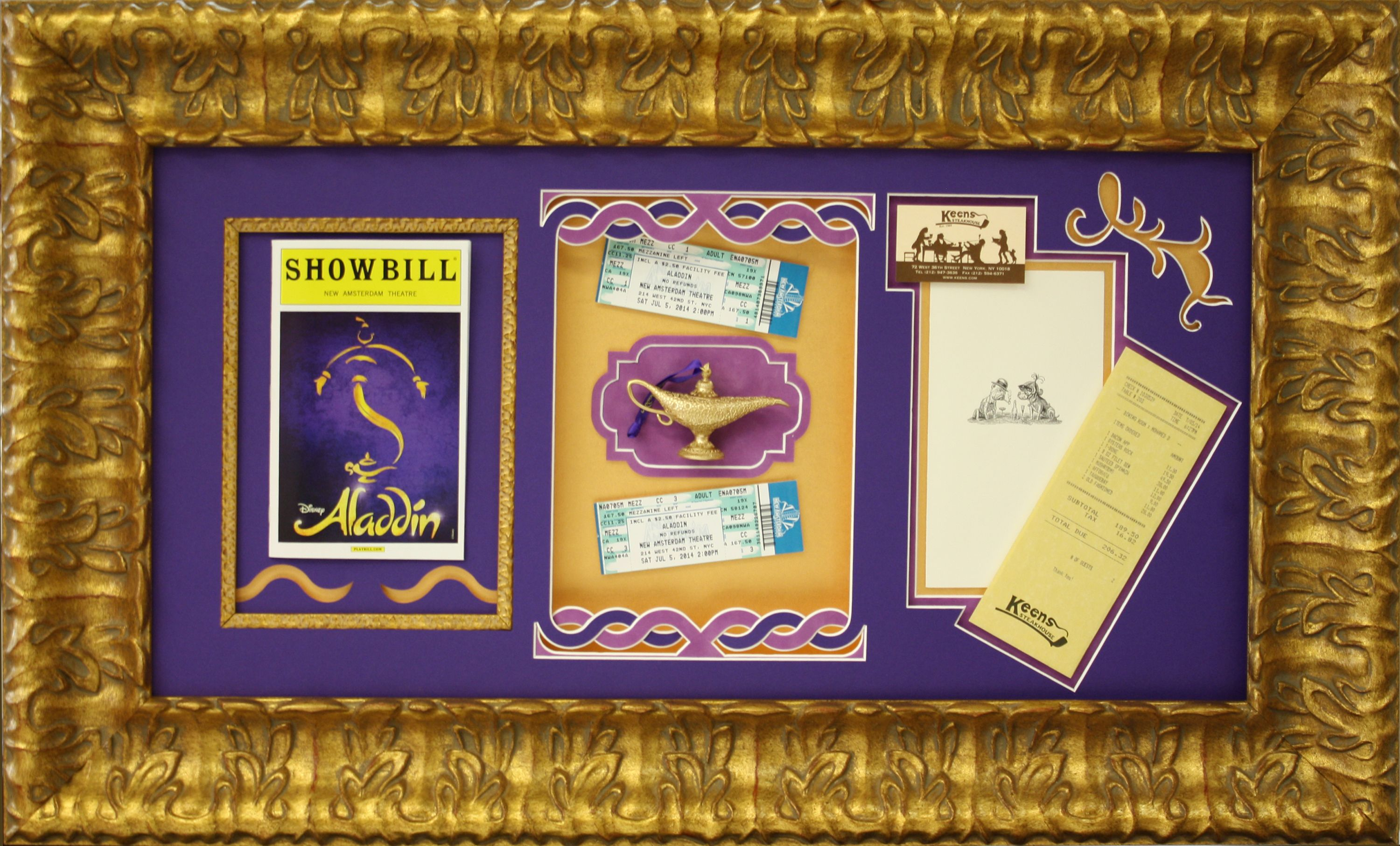 Custom Framed Broadway Aladdin Musical With Playbill And Tickets