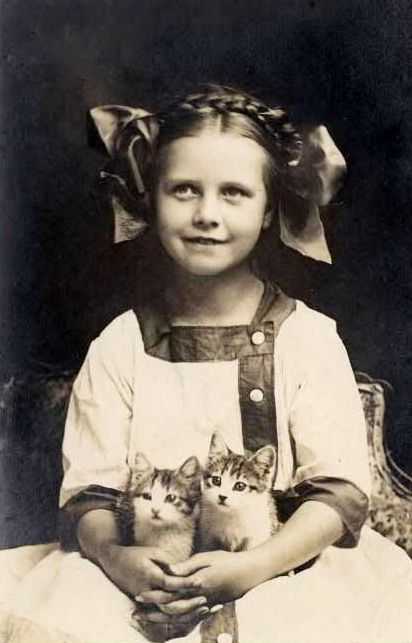 Girl With Two Kittens 1912 Vintage Photos Vintage Cat Vintage Photography