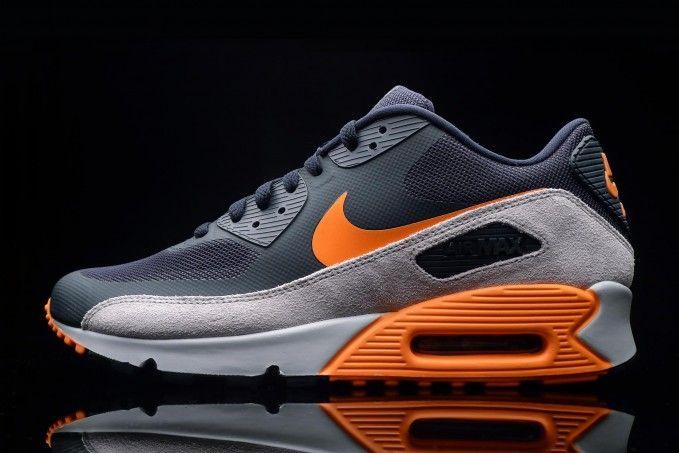 "promo code 762b6 8af4c Nike Air Max 90 Premium ""Dark ObsidianTotal OrangeNeutral Grey"