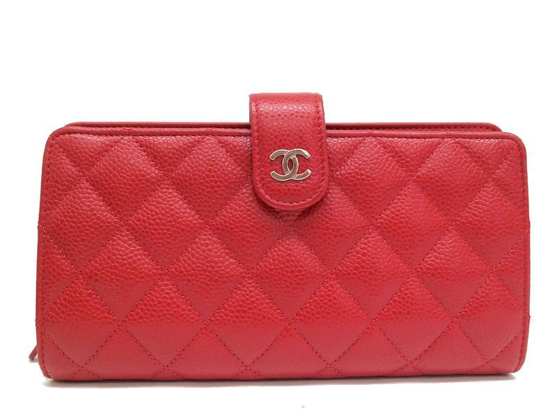 37a10867c014e2 #Chanel Bifold Wallet Caviar Skin Red A68776 (BF070482). eLADY global  offers free