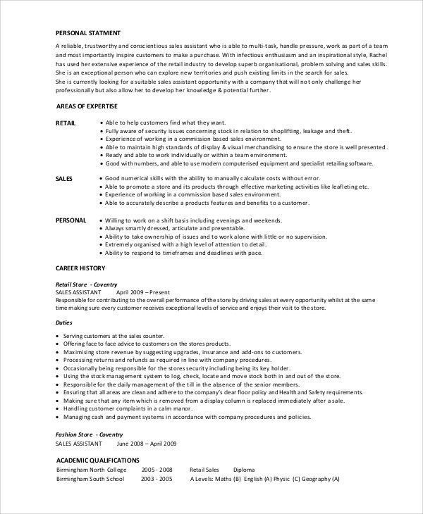 Retail Sales Associate Resume Examples Interesting Sample