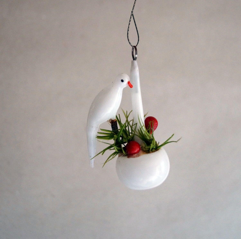 Vogel auf Blumenampel Milchglas Gansfeder UM 1920 1735   eBay
