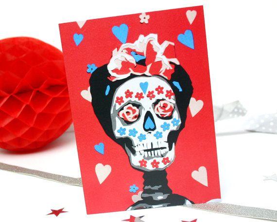 Frida kahlo greetings card sugar skull birthday card mexican day frida kahlo greetings card sugar skull birthday card mexican day of the dead birthday m4hsunfo