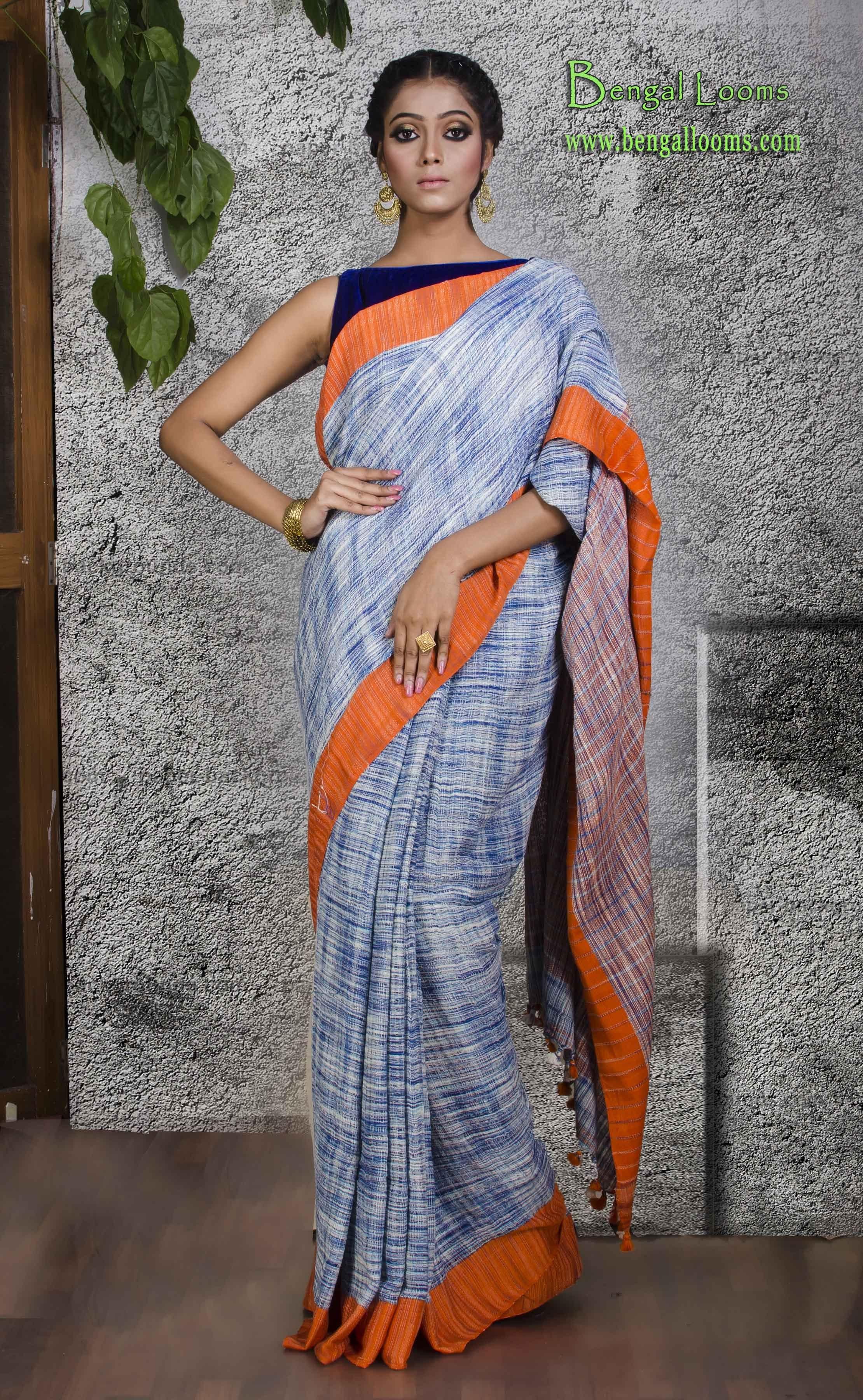 3b0173788 Kotki Linen Saree in White, Blue and Orange | Linen Sarees | Saree ...